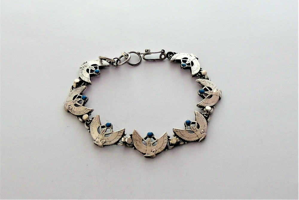 isis silver bracelet kneeling with open wings & turquoise sun disc (hallmarked)