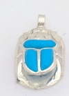 scarab silver pendant inlaid with turquoise (