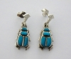 scarab silver earrings inlaid with turquoise