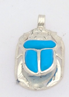 scarab silver pendant inlaid with turquoise (hallmarked