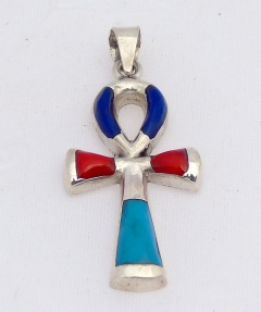 ankh silver pendant inlaid with lapis, red coral & turquoise (hallmarked)