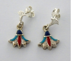 lotus flower silver earrings inlaid with lapis/red coral/turquoise (hallmarked)