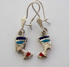 nefertiti silver earrings inlaid with lapis lazuli, red coral and turquoise (hallmarked)