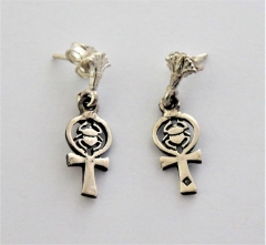 ankh & scarab silver earring with stud fastening (hallmarked)