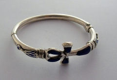 ankh silver bangle with lapis lazuli - small ankh & lotus flowers (hallmarked)