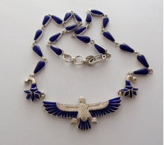 isis silver & lapis lazuli pendant on lapis and silver chain (hallmarked)