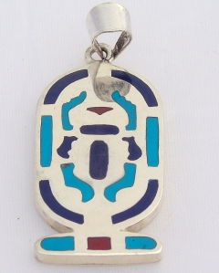 scarab silver pendant inlaid with lapis, turquoise & red coral (hallmarked)(intaglio design)