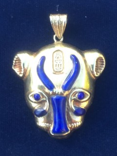 sekhmet gold pendant inlaid with lapis lazuli (hallmarked)